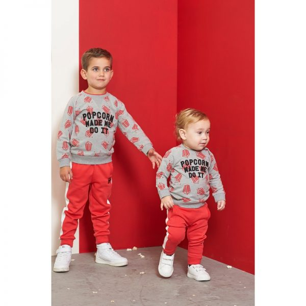 Feetje Popcorn Power sweater made me grijs melange 516.01608
